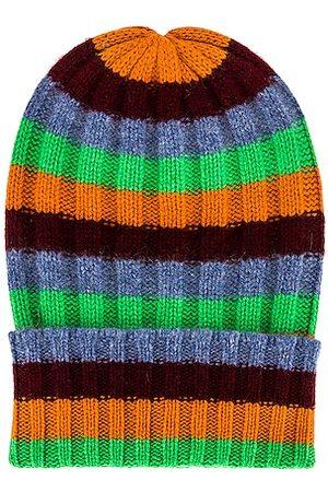 THE ELDER STATESMAN Cashmere Inch Stripe Short Bunny Echo Beanie in Orange,Green