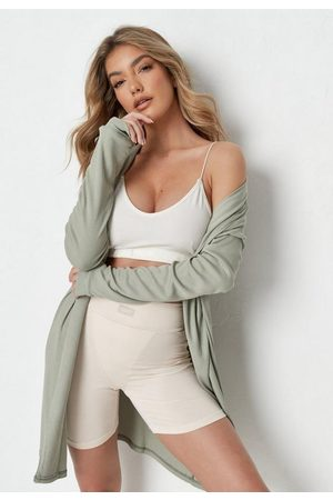 Missguided Sage Rib Short Dressing Gown