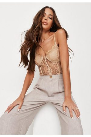 Missguided Sand Cami Lace Bodysuit