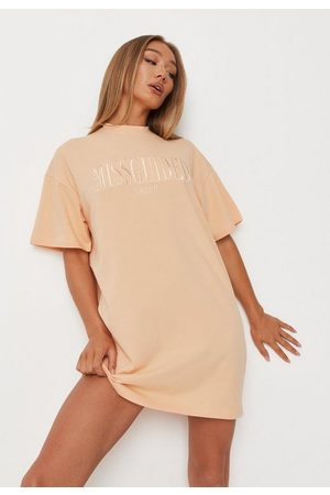 Missguided Embroidered Oversized T Shirt Dress