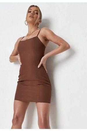 Missguided Chocolate Cami Strap Bodycon Mini Dress