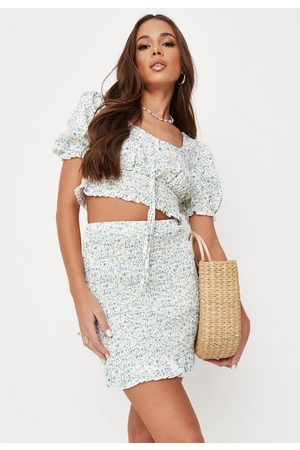 Missguided Women Printed Skirts - Co Ord Floral Print Shirred Mini Skirt