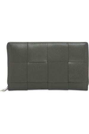 Bottega Veneta Men Wallets - Maxi Intreccio Leather Zip Around Wallet