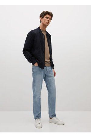 MANGO Men Leather Jackets - Faux-suede bomber jacket