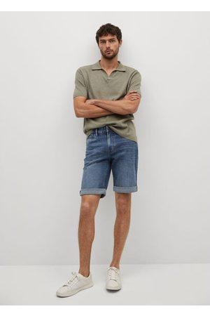 MANGO Men Bermudas - Faded dark wash denim Bermuda shorts