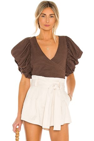 Free People Can't Get Enough Wrap Top in Brown.