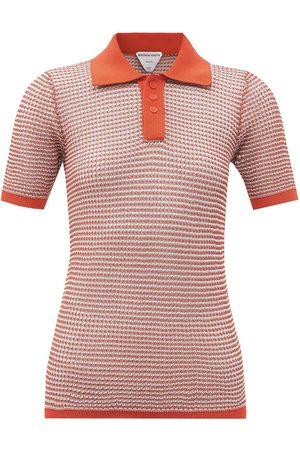 Bottega Veneta Women Polo Shirts - Polo striped cotton-blend net top