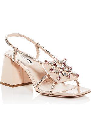 Miu Miu Women's Crystal Embellished Block Heel Sandals