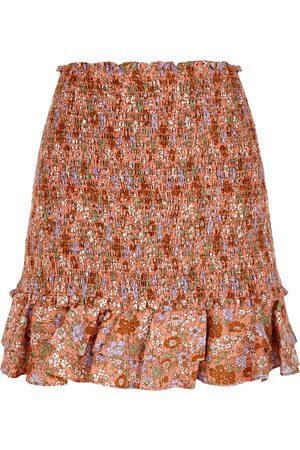VERONICA BEARD Melodie floral-print smocked cotton mini skirt