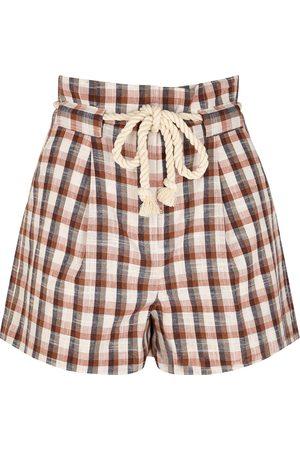 VERONICA BEARD Salika checked cotton-blend shorts