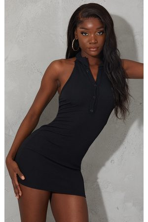 PRETTYLITTLETHING Rib Halterneck Button Detail Bodycon Dress