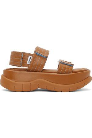 SUNNEI Tan Leather Low Platform Sandals