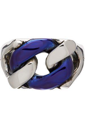 Alexander McQueen Silver & Blue Chrome Chain Ring