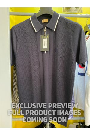 Gabicci Bronson Navy Weave Knitted Polo Shirt