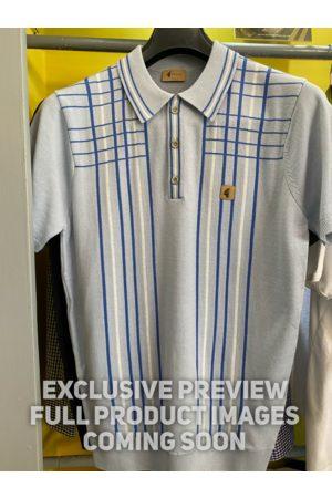Gabicci Vintage Bale Blue & Checked Stripe Knitted Polo Shirt