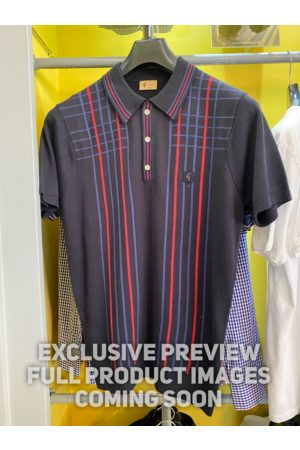 Gabicci Bale Navy & Red Checked Stripe Knitted Polo Shirt