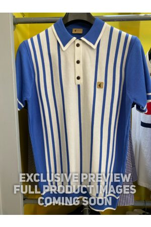 Gabicci Peck White & Striped Knitted Polo Shirt