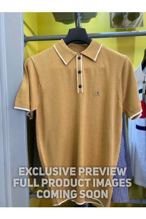 Gabicci Lineker Tan & White Trim Knitted Polo Shirt