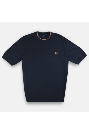 Fred Perry Fred Perry Textured Knitted T-Shirt - Dark Airforce