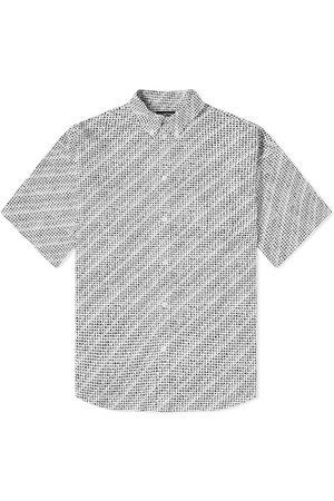Balenciaga Men Short sleeves - Short Sleeve Hand Drawn Repeat Logo Shirt