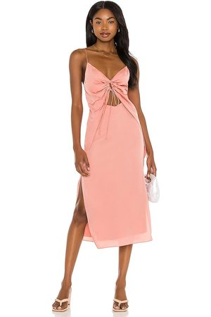 Song of Style Sela Midi Dress in Coral.