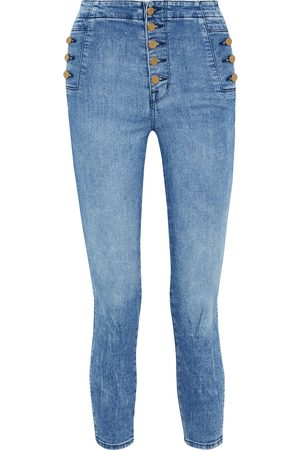 J BRAND Women High Waisted - Woman Natasha Cropped Button-detailed High-rise Skinny Jeans Mid Denim Size 24