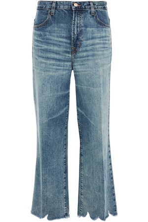 J BRAND Women High Waisted - Woman Joan Cropped Distressed High-rise Wide-leg Jeans Mid Denim Size 23