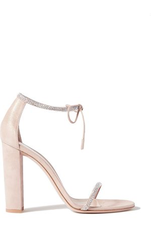 Gianvito Rossi Women Heeled Sandals - Woman 105 Crystal-embellished Suede Sandals Blush Size 35
