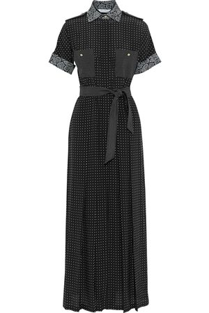 Max Mara Woman City Belted Pleated Printed Silk-crepe Wide-leg Jumpsuit Size 40
