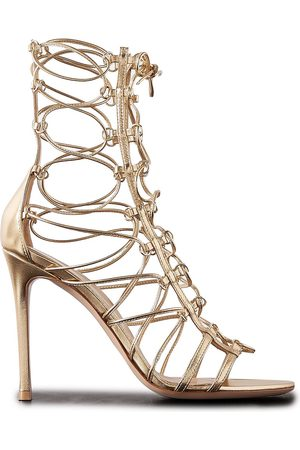 Gianvito Rossi Women Heeled Sandals - Woman Siouxsie 105 Metallic Leather Sandals Size 38