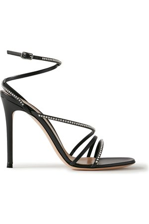 GIANVITO ROSSI Women Heeled Sandals - Woman 105 Crystal-embellished Leather Sandals Size 36