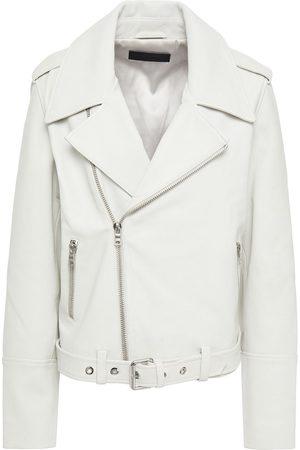 J BRAND Women Leather Jackets - Woman Maysen Leather Biker Jacket Off- Size L