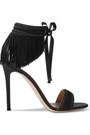 Gianvito Rossi Women Heeled Sandals - Woman Parade Fringed Metallic Woven Sandals Size 38