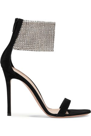 Gianvito Rossi Women Heeled Sandals - Woman 105 Suede And Crystal-embellished Tulle Sandals Size 37