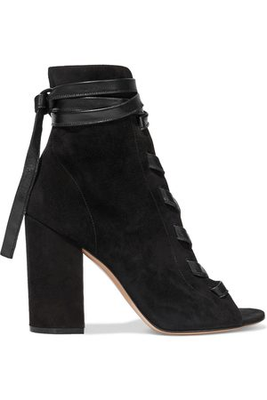 GIANVITO ROSSI Women Ankle Boots - Woman Brooklyn Leather-trimmed Suede Ankle Boots Size 36