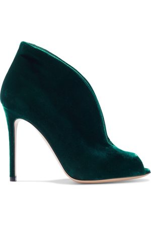 GIANVITO ROSSI Women Ankle Boots - Woman Vamp 105 Velvet Ankle Boots Emerald Size 36