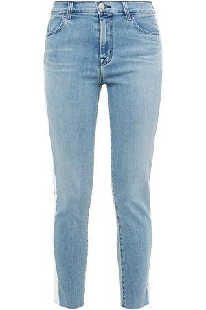 J Brand Women Skinny - Woman Alana Cropped Striped Mid-rise Skinny Jeans Light Denim Size 27