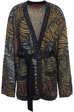 Missoni Women Cardigans - Woman Belted Sequin-embellished Metallic Jacquard-knit Cardigan Midnight Size 38