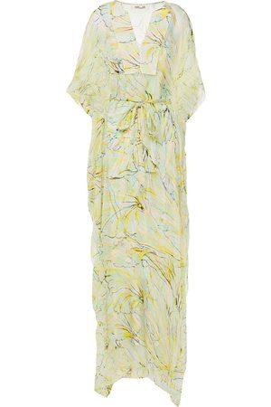 DIANE VON FURSTENBERG Women Printed Dresses - Woman Belted Printed Silk-crepon Kaftan Ivory Size L