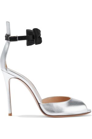 Gianvito Rossi Women Heeled Sandals - Woman Bow-embellished Metallic Leather Sandals Size 36.5