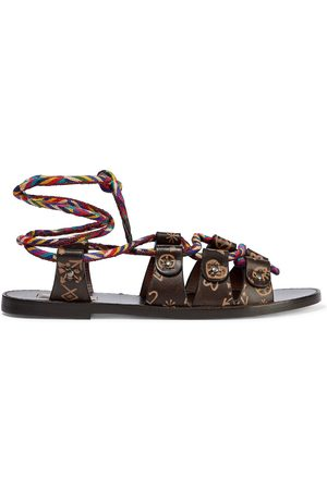 VALENTINO GARAVANI Women Sandals - Woman Lace-up Embossed Leather And Woven Sandals Dark Size 35