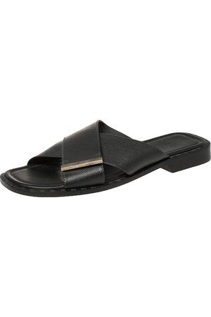 LOUIS VUITTON Black Taiga Leather Cross Strap Flat Slides Size 43.5
