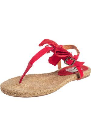 Lanvin Leather And Satin Bow Espadrille Thong Flat Sandals Size 39