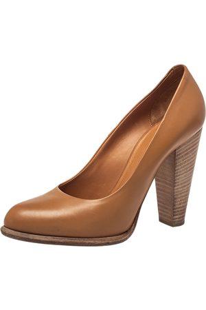 Céline Leather Block Heel Pumps Size 37.5