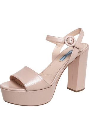 Prada Patent Saffiano Leather Block Heel Platform Ankle Strap Sandals Size 40