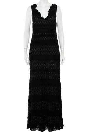 Missoni Lurex Knit Ruffled Neck Sleeveless Maxi Dress M
