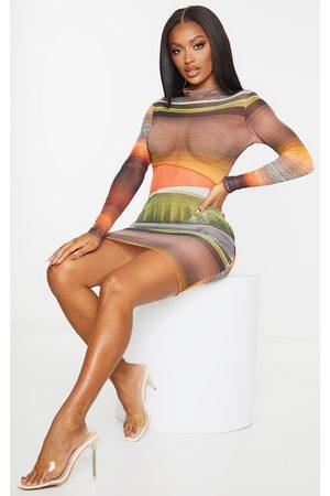 PRETTYLITTLETHING Shape Ombre Stripe Sheer Mesh Panel Bodycon Dress
