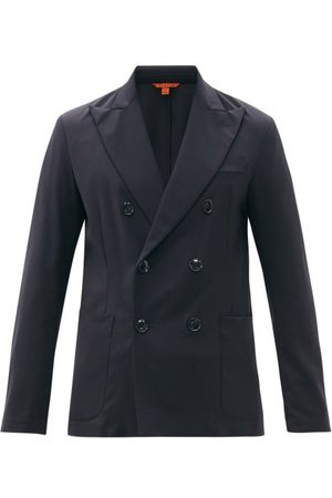 BARENA Siroco Elga Wool-blend Sharkskin Suit Jacket - Mens - Navy
