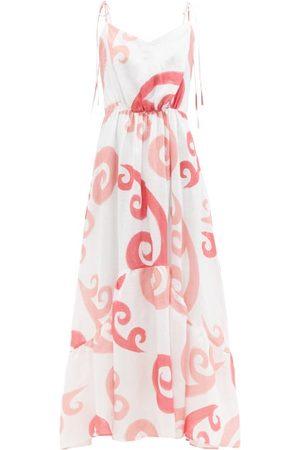 Themis Z Peacock-print Linen-poplin Maxi Dress - Womens - Multi
