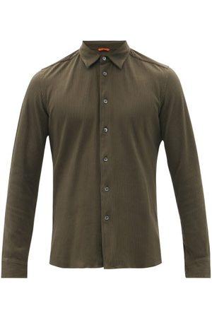 BARENA Men Shirts - Coppi Ribbed Cotton-jersey Shirt - Mens - Dark Khaki